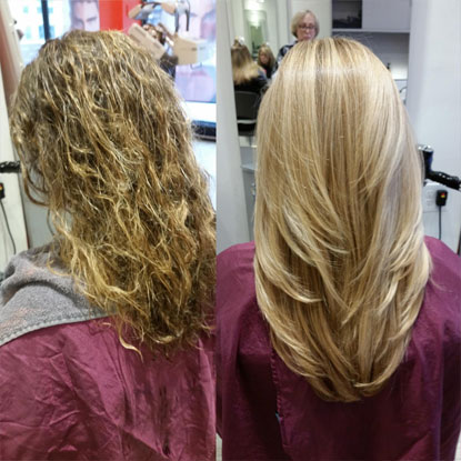 comparison between before hair straightening and after hair straightening, photo 01