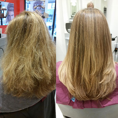 comparison between before hair straightening and after hair straightening, photo 02