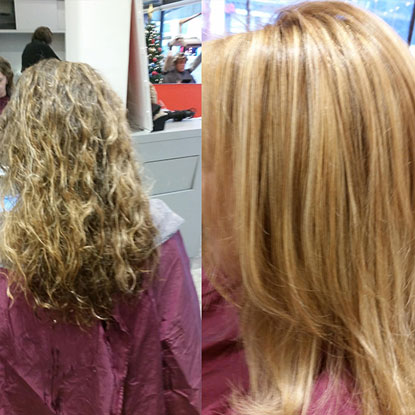 comparison between before hair straightening and after hair straightening, photo 03