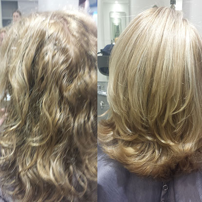 comparison between before hair straightening and after hair straightening, photo 04